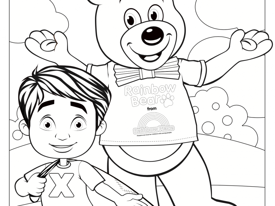 Rainbow Bear Colouring In